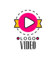 cinema or video company logo template creative vector image vector image