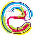 Colorful Grunge font letter e vector image vector image