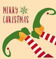 cute christmas card with elf legs vector image