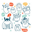 cute monsters and ghosts colorful doodles vector image vector image