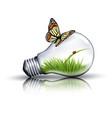 eco light bulb with grass a ladybug vector image