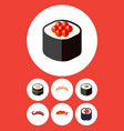 flat icon maki set of seafood japanese food vector image vector image