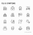 flu and symptoms thin line icons set vector image
