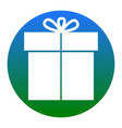 gift sign white icon in bluish circle on vector image vector image