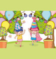 girl on party cartoons vector image