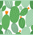 green doodle cactus seamless pattern vector image vector image