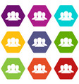 group of people icon set color hexahedron vector image