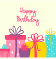 happy birthday greeting card with cute hand vector image vector image