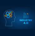 head silhouette industry 40 revolution concept vector image