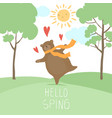 hello spring forest landscape cute bear in love vector image