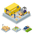 isometric delivery concept with loading process vector image vector image