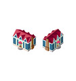 isometric set house with red roof vector image vector image