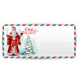 letter post card to russian santa claus happy new vector image