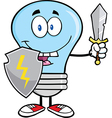 Light bulb with sword and shield vector image vector image
