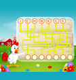 logic puzzle game for study english with rooster vector image