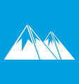 mountains with snow icon white vector image