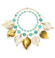 necklace golden leaves vector image vector image