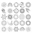 new year fireworks icons vector image