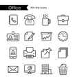 Office thin line icons vector image vector image
