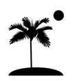 palm trees silhouette on island sun flat design vector image vector image