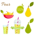 Pear fruit and juice set vector image vector image