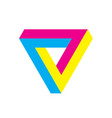 penrose triangle icon in cmy colors geometric 3d vector image vector image