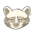 raccoon animal head animated character vector image