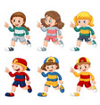 set isolated boys and girls vector image
