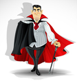 Skilled old vampire in cape and with walking stick vector image vector image