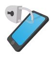 smartphone with lock cartoon icon vector image vector image