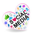 social media heart logo vector image