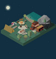 stay at night on campground isometric vector image