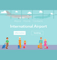 tourists in international airport terminal with vector image vector image