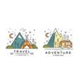 travel logo design set adventures camping badges vector image vector image
