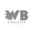 wb w b zebra letter logo design with black and vector image