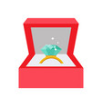 wedding ring with diamond vector image vector image
