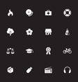 White simple flat icon set 6 vector image