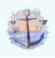 Anchor on the sunset background vector image vector image