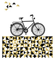 Bike concept with hipster gold background vector image vector image