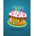 birthday cake with burning vector image vector image