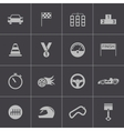 black racing icons set vector image vector image