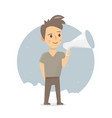 boy with megaphone announcement or speech vector image