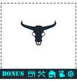 Bull skull icon flat vector image vector image