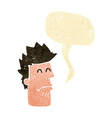 cartoon man feeling sick with speech bubble vector image