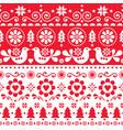christmas folk art seamless pattern nordic vector image