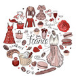 circle made of different symbols related to france vector image