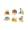 collection summer logos beach party summer vector image