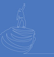 continuous one line man on the top concept vector image vector image