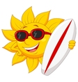 Cute sun cartoon character with surfing board vector image