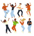 dancing people fun at party or disco celebration vector image
